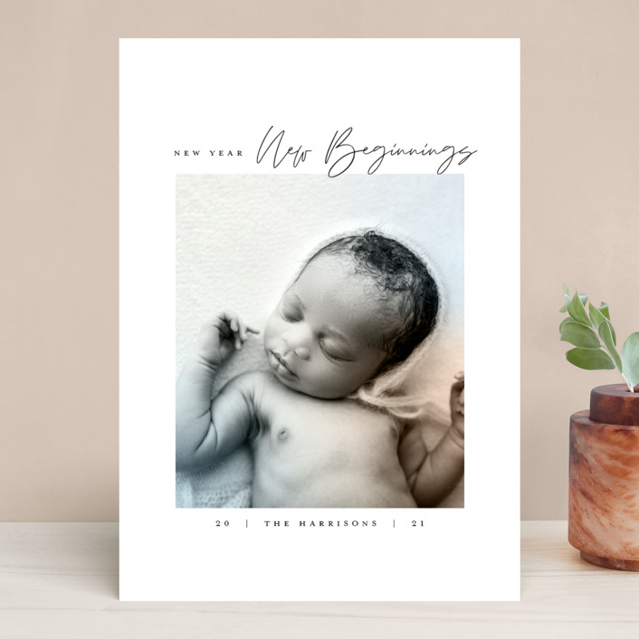 """Joyful Beginnings"" - New Year Photo Cards in Mocha by Heather Cairl."