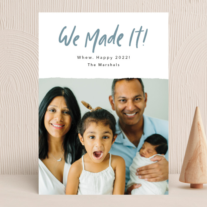 """""""We Made It!"""" - Funny New Year Photo Cards in Moonstone by Kelsey Mucci."""