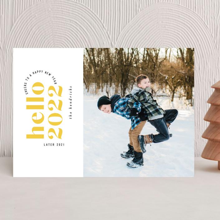"""Hello Yellow"" - New Year Photo Cards in Lemon by Hooray Creative."
