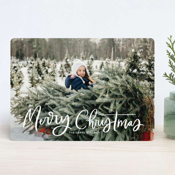 """""""Modern Merry Greeting"""" - New Year Photo Cards in Winter by Kristen Smith."""