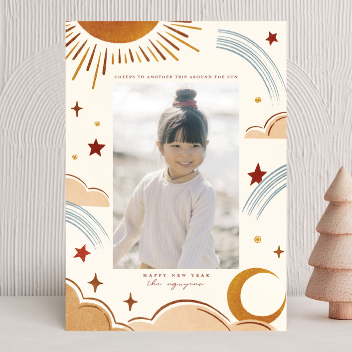 """Another Trip"" - Bohemian New Year Photo Cards in Spice by Vivian Yiwing."