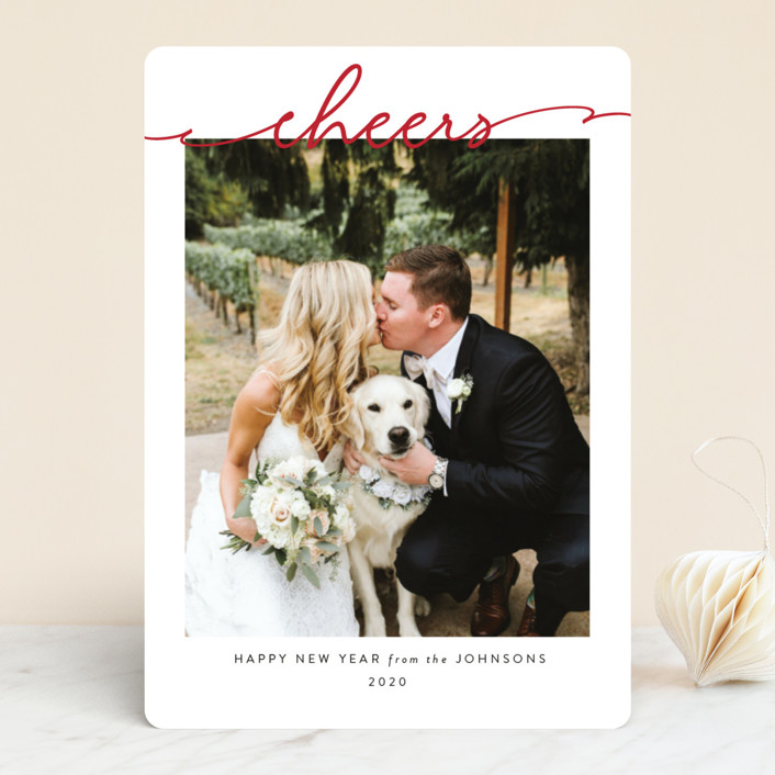 """Scripted Merry"" - New Year Photo Cards in Crimson by Kasia Labocki."