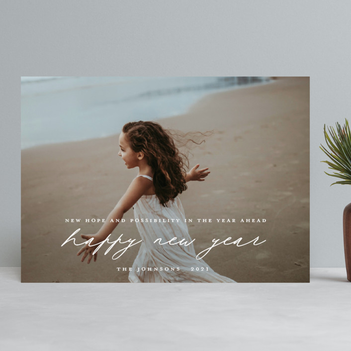"""""""hope for the year ahead"""" - New Year Photo Cards in Snow by Rebecca Durflinger."""