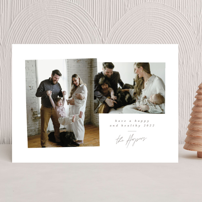"""Mix and Match"" - New Year Photo Cards in Ash by Ink and Letter."