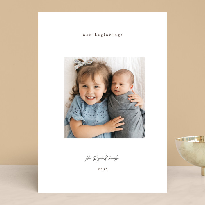 """Gazing. boy"" - New Year Photo Cards in Oyster by Benita Crandall."