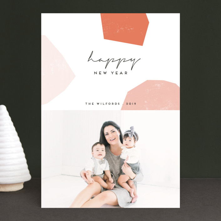 """""""modular shapes"""" - Modern New Year Photo Cards in Coral by Morgan Kendall."""