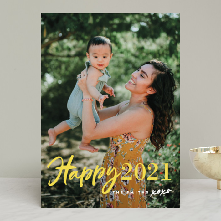 """New Year XOXO"" - Modern New Year Photo Cards in Lemon by Chryssi Tsoupanarias."