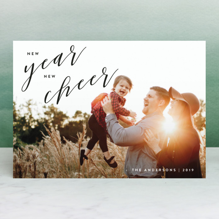 """New Year, New Cheer"" - New Year Photo Cards in Onyx by JoAnn Jinks."