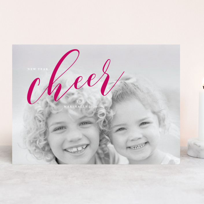 """""""A Cheer to 2019"""" - New Year Photo Cards in Cerise by Benita Crandall."""