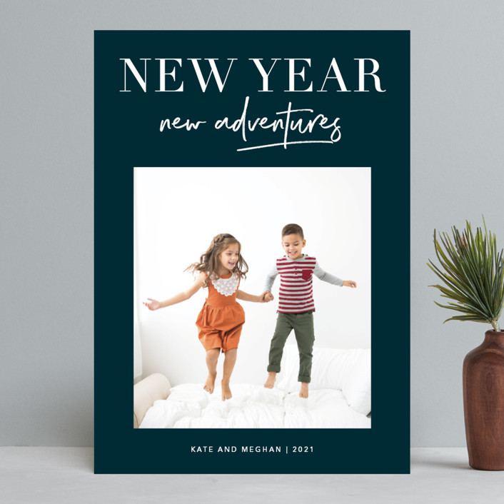 """""""Adventures Together"""" - New Year Photo Cards in Navy by Kelly Nasuta."""