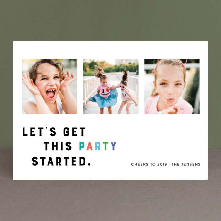 """Party Starter"" - Modern New Year Photo Cards in Candy by Ellis."