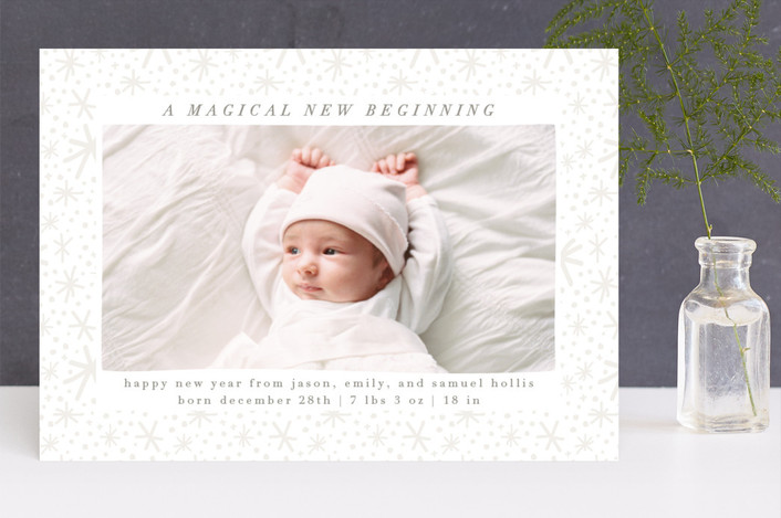 """Magical Beginning"" - New Year Photo Cards in Pebble by Julie Murray."