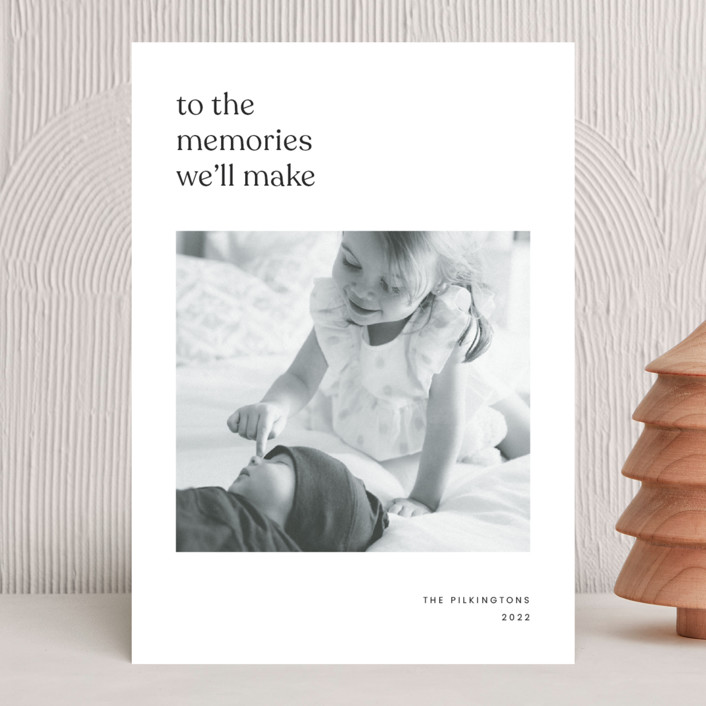 """""""To the memories we'll make"""" - New Year Photo Cards in Charcoal by Blustery August."""
