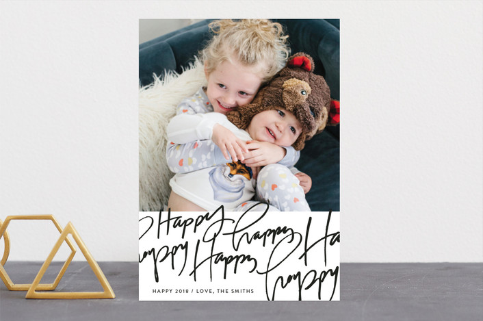 """Happy Happy Happy"" - Modern New Year Photo Cards in Coal by Rebekah Disch."
