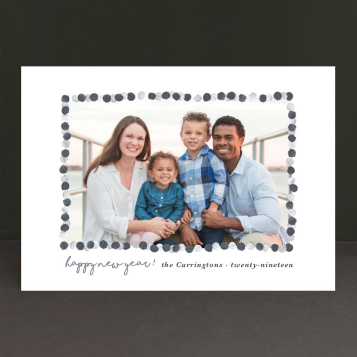"""""""New Year Garland"""" - New Year Photo Cards in Taupe by Gwen Bedat."""
