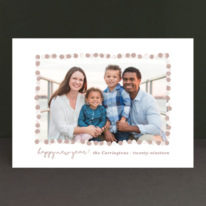 """New Year Garland"" - New Year Photo Cards in Taupe by Gwen Bedat."