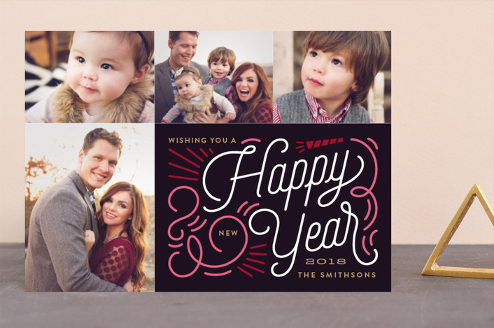 """""""Swirl New Year"""" - New Year Photo Cards in Onyx by Genna Cowsert."""