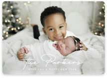This is a white new year photo card by Ekko Studio called Stylish Surname with standard printing on smooth signature in standard.