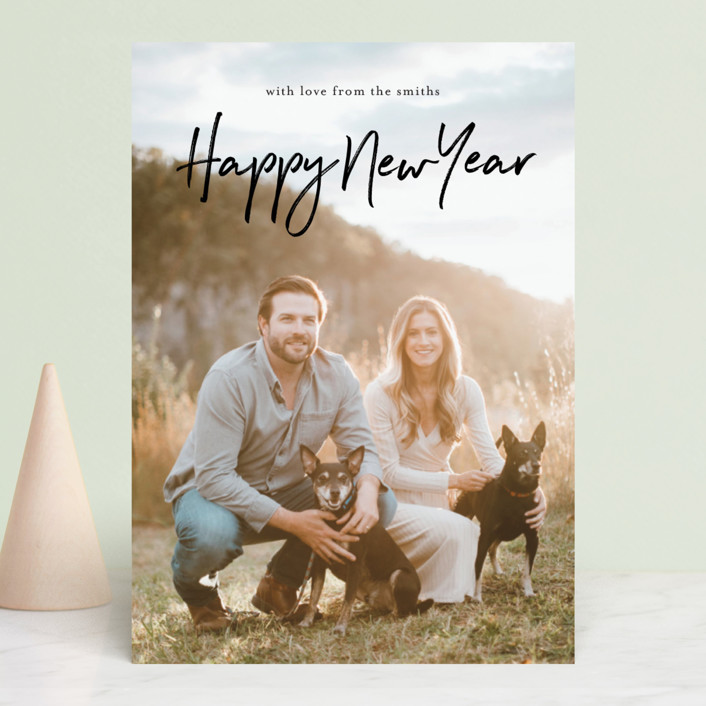 """casual year"" - New Year Photo Cards in Ebony by Phrosne Ras."