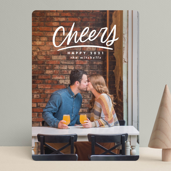 """Hand Lettered Cheers"" - New Year Photo Cards in Cotton by Ink and Letter."