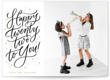 This is a yellow new year photo card by Erin German called Happy 22 with standard printing on recycled smooth signature in standard.