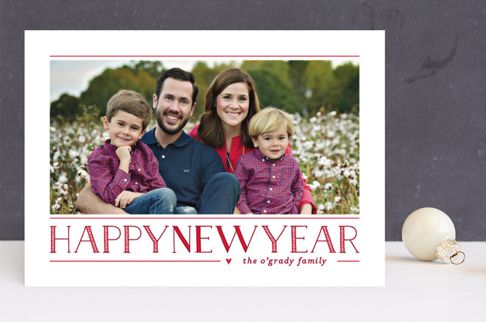 """Love Peace Cheer"" - New Year Photo Cards in Crimson by Lauren Chism."