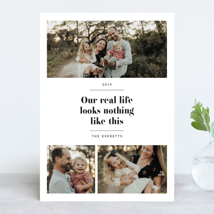 """Real Life."" - New Year Photo Cards in Coal by Hudson Meet Rose."