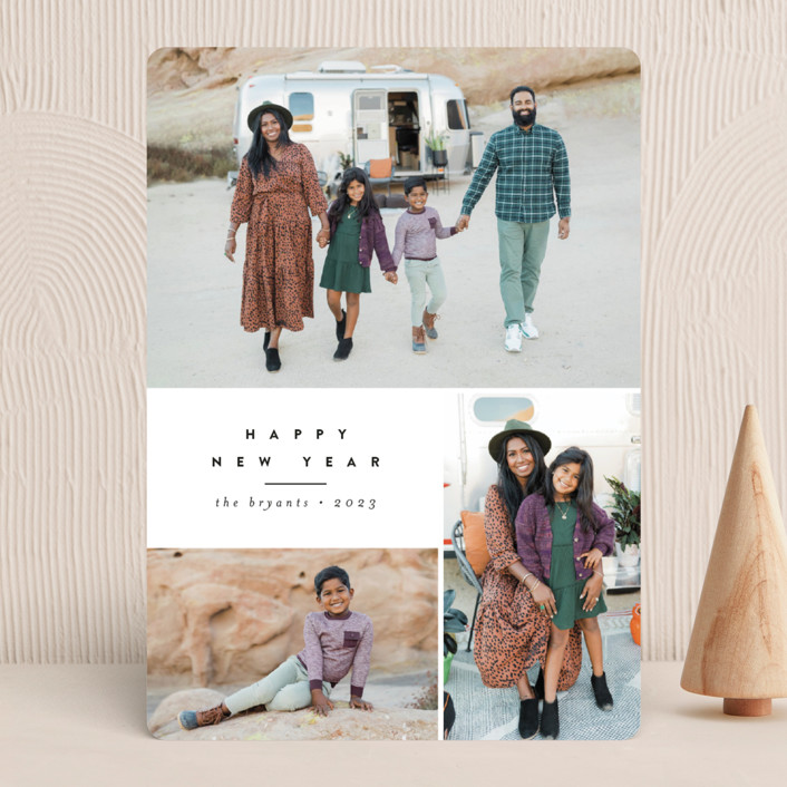 """Blocked"" - New Year Photo Cards in Licorice by peony papeterie."
