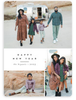 This is a black new year photo card by peony papeterie called Blocked with standard printing on smooth signature in standard.