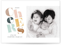 This is a pink new year photo card by Creo Study called Woodblock cheers with standard printing on signature in standard.