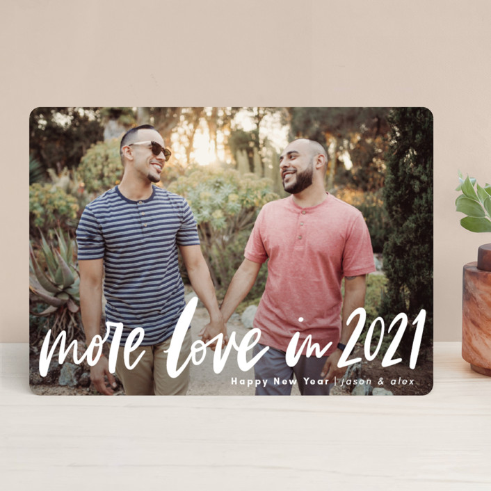"""""""More Love"""" - New Year Photo Cards in Snow by Alicia Schultz."""