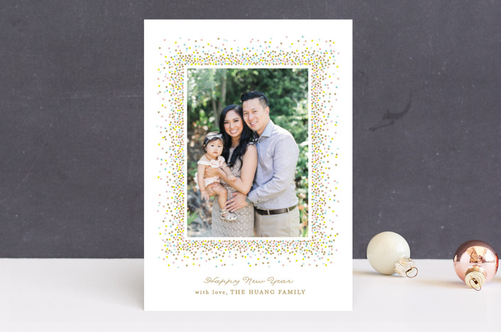 """Confetti pop"" - New Year Photo Cards in Antique by Jennifer Postorino."
