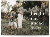 This is a blue new year photo card by Sara Hicks Malone called bright days ahead with standard printing on smooth signature in standard.