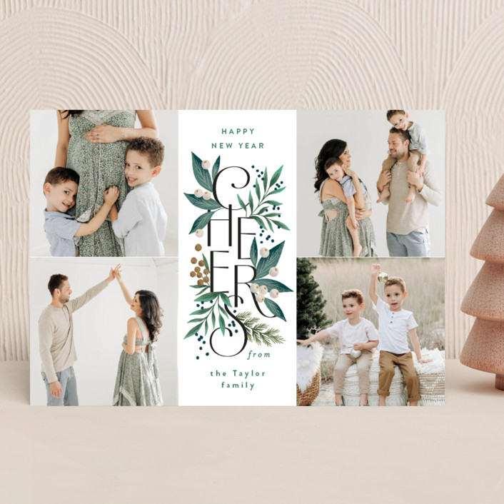 """""""Cheer Greens"""" - New Year Photo Cards in Pine by Alethea and Ruth."""