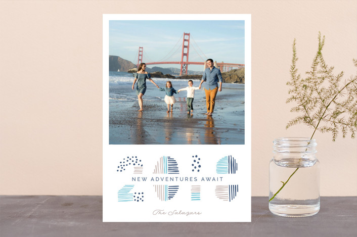 """Date Doodle"" - Modern New Year Photo Cards in Denim by Pixel and Hank."