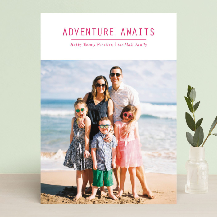 """""""Adventure Awaits"""" - New Year Photo Cards in Berry by Loren Willis."""