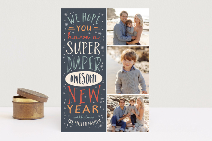 """Super Duper"" - New Year Photo Cards in Nickel by Amy Payne."