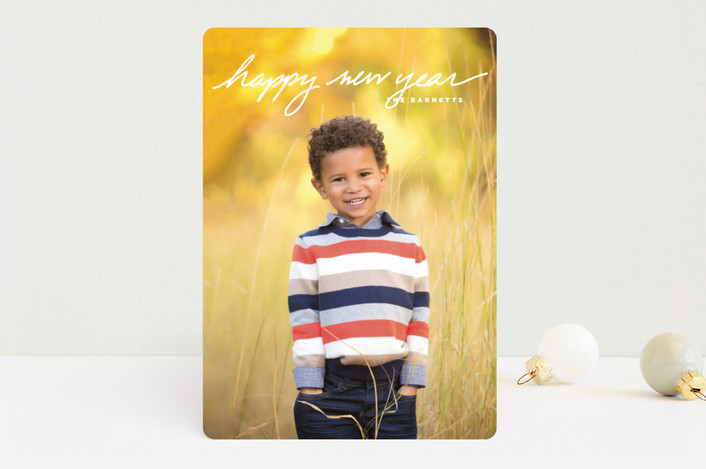 """""""Simple Message"""" - New Year Photo Cards in Frost by Oscar & Emma."""