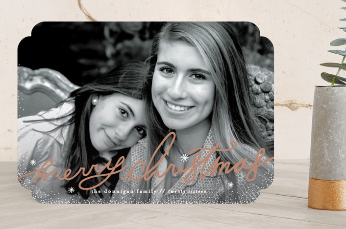 """Handlettered Charm"" - Bohemian New Year Photo Cards in Champagne by Melanie Severin."