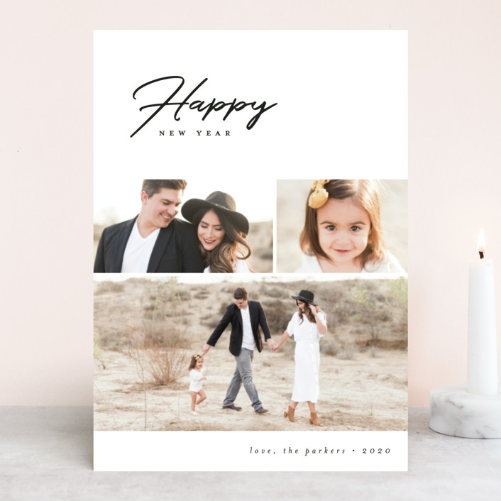 """""""Modern Happy"""" - New Year Photo Cards in Licorice by peony papeterie."""