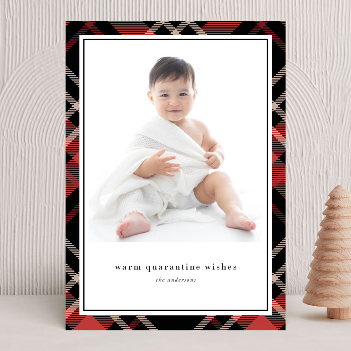 """Joyful Plaid"" - New Year Photo Cards in Scarlet by That Girl Press."