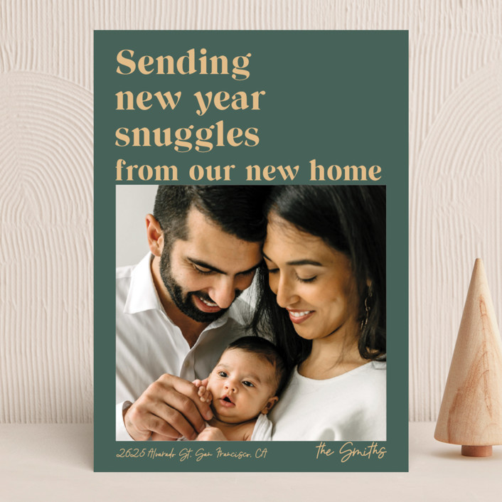 """""""Holiday Snuggles"""" - Funny New Year Photo Cards in Sage by Catherine Culvenor."""