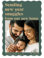 This is a green new year photo card by Catherine Culvenor called Holiday Snuggles with standard printing on smooth signature in standard.