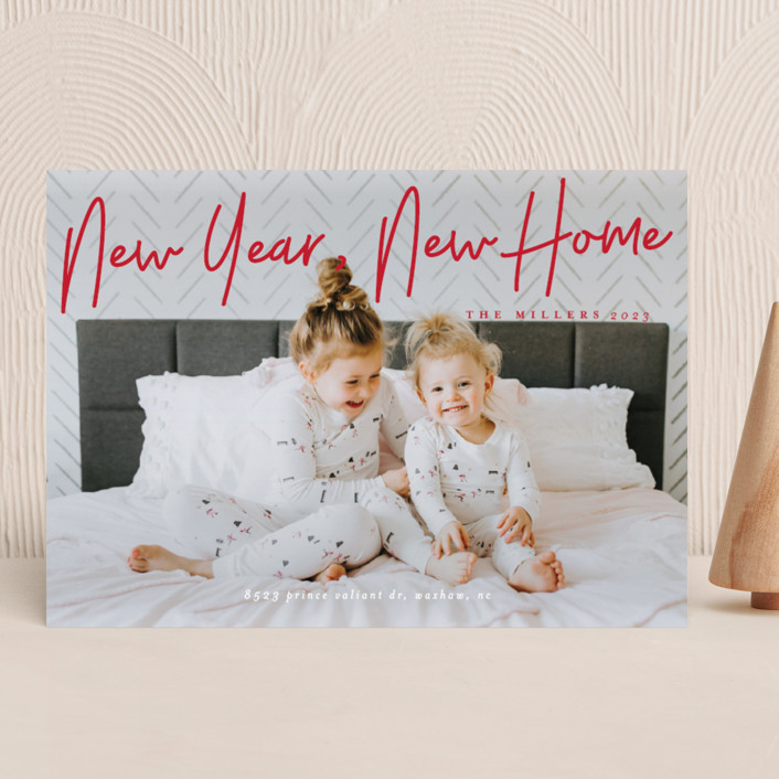 """""""A Signature Holiday"""" - New Year Photo Cards in Cherry by Liz Conley."""