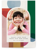 This is a white new year photo card by Carly Reed Walker called Jolly Holiday with standard printing on signature in standard.