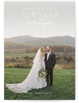 This is a white new year photo card by Oscar & Emma called More to Come with standard printing on signature in standard.