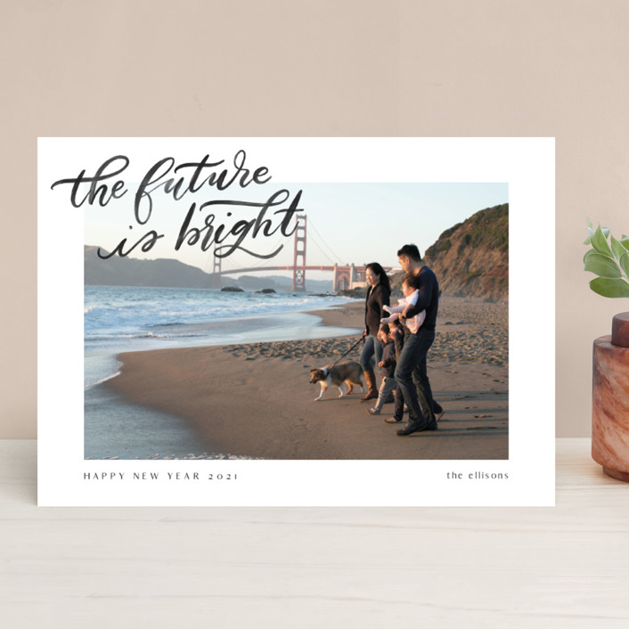 """""""A Bright Future"""" - Bohemian New Year Photo Cards in Snow by Ashley DeMeyere."""