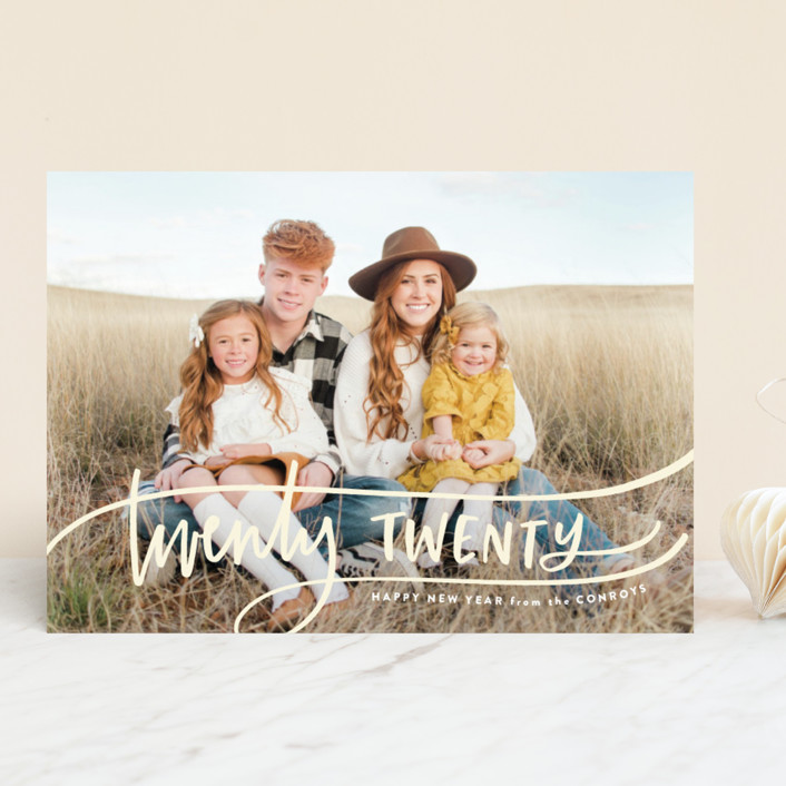 """""""Swoop"""" - Modern New Year Photo Cards in Lemon Tart by Up Up Creative."""