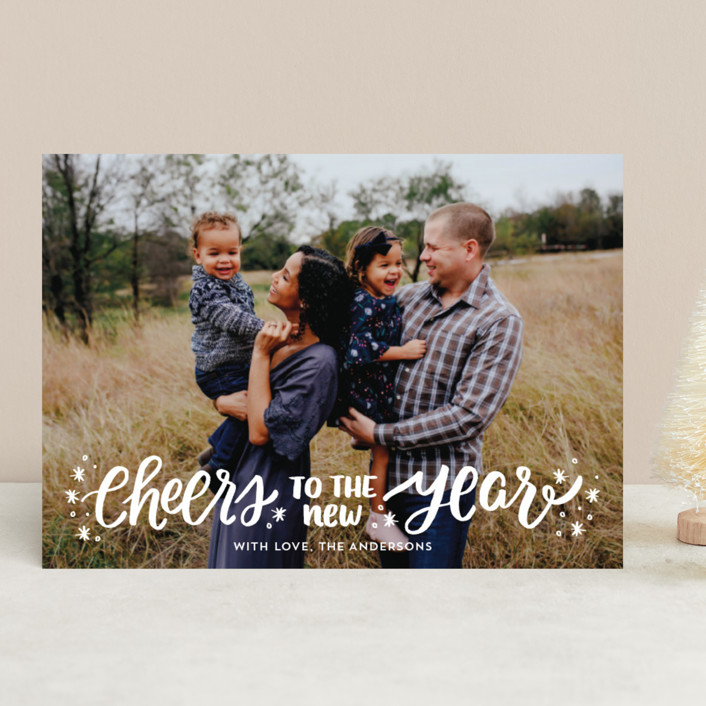 """""""A New Year Cheers"""" - Bohemian New Year Photo Cards in Cream by Little Print Design."""