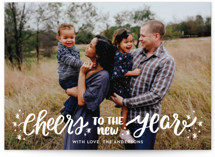 This is a white new year photo card by Little Print Design called A New Year Cheers with standard printing on smooth signature in standard.